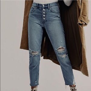 Free People Distressed Blossom Jeans